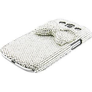 Crystal Deluxe Diamante Back Cover for Samsung Galaxy S III, Silver Ribbon DD-SAGS3IM01