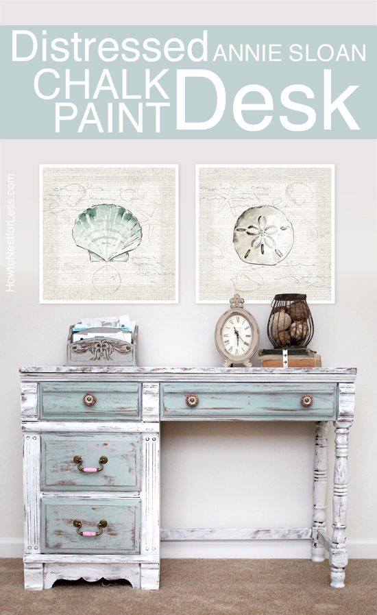 Distressed Chalk Paint Desk Makeover | beach theme | Chalk ...