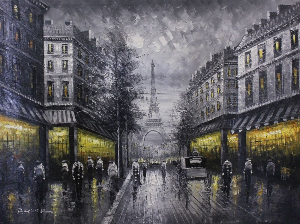 Street scene original oil painting from art outlet for Paris night time