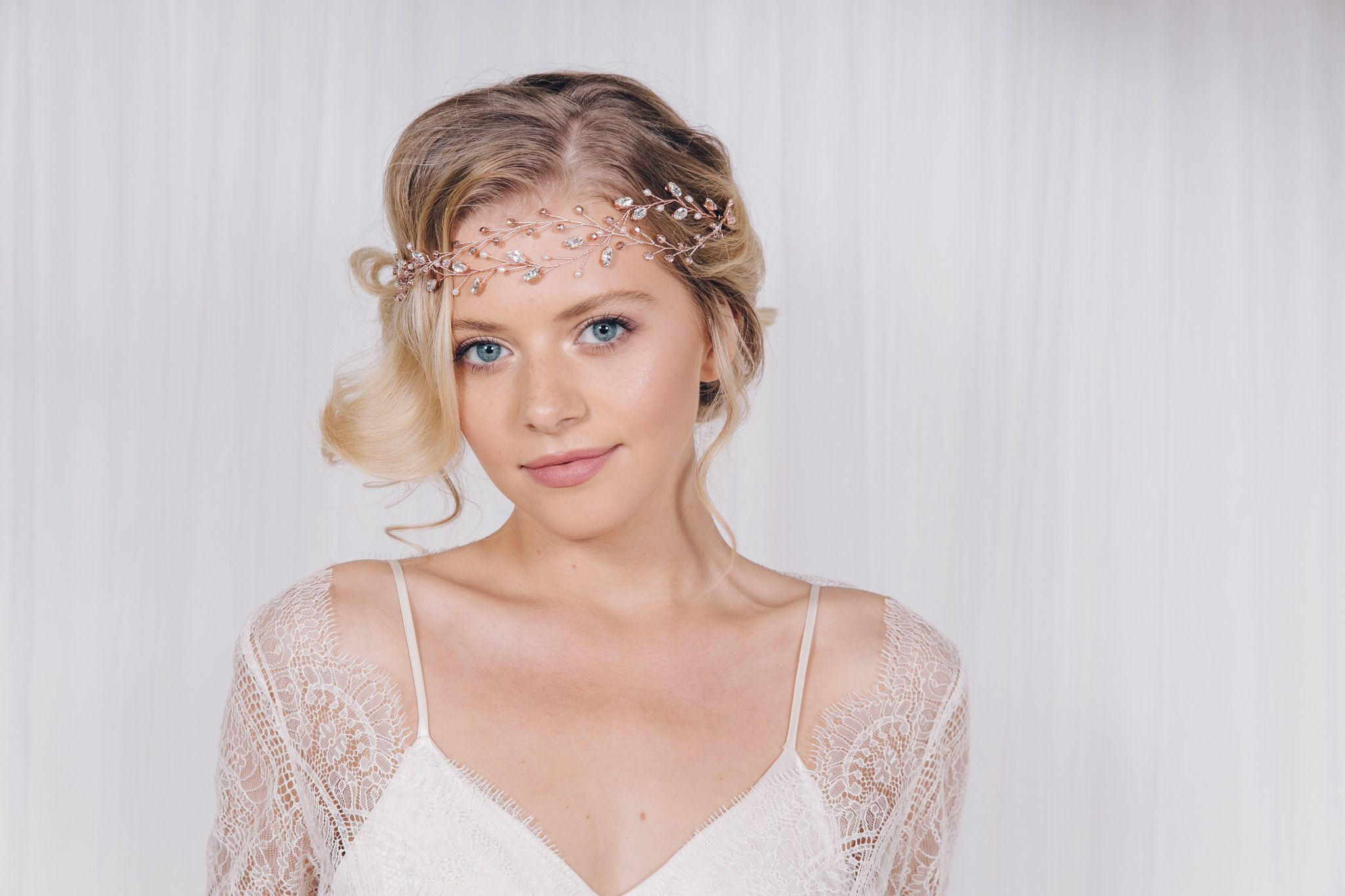 simple crystal wedding hairvine headband - amy | wedding