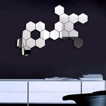 Diy Hexagon 3D Art Mirror Wall Stickers for Home Wall ...