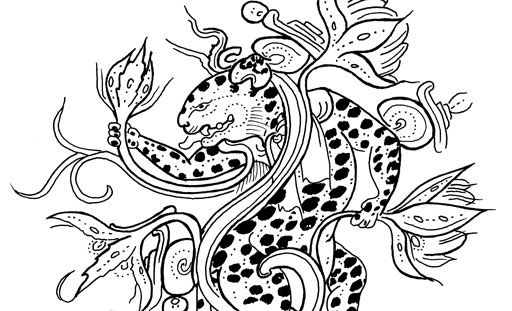 Underworld Jaguar Surrounded By Waterlilies Redrawn From An Early
