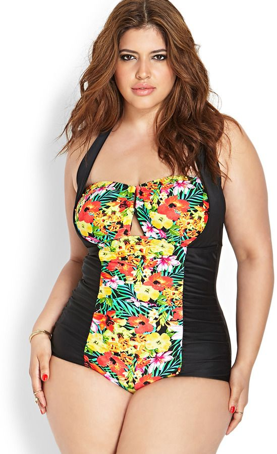17a4121fe9 Denise Bidot for Forever 21. 42-inch bust, 34-inch waist, 47-inch hips.  FOREVER 21+ Tropical Paradise Swimsuit on shopstyle.com