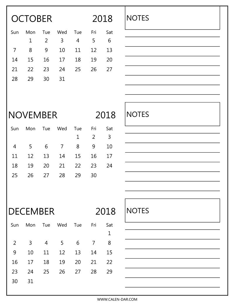 Free Printable October November 2018 Blank Calendar Download
