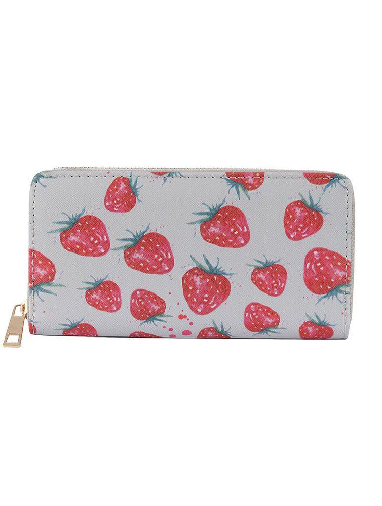 New Zip Around Accordion Wallet Vinyl Clutch Strawberries