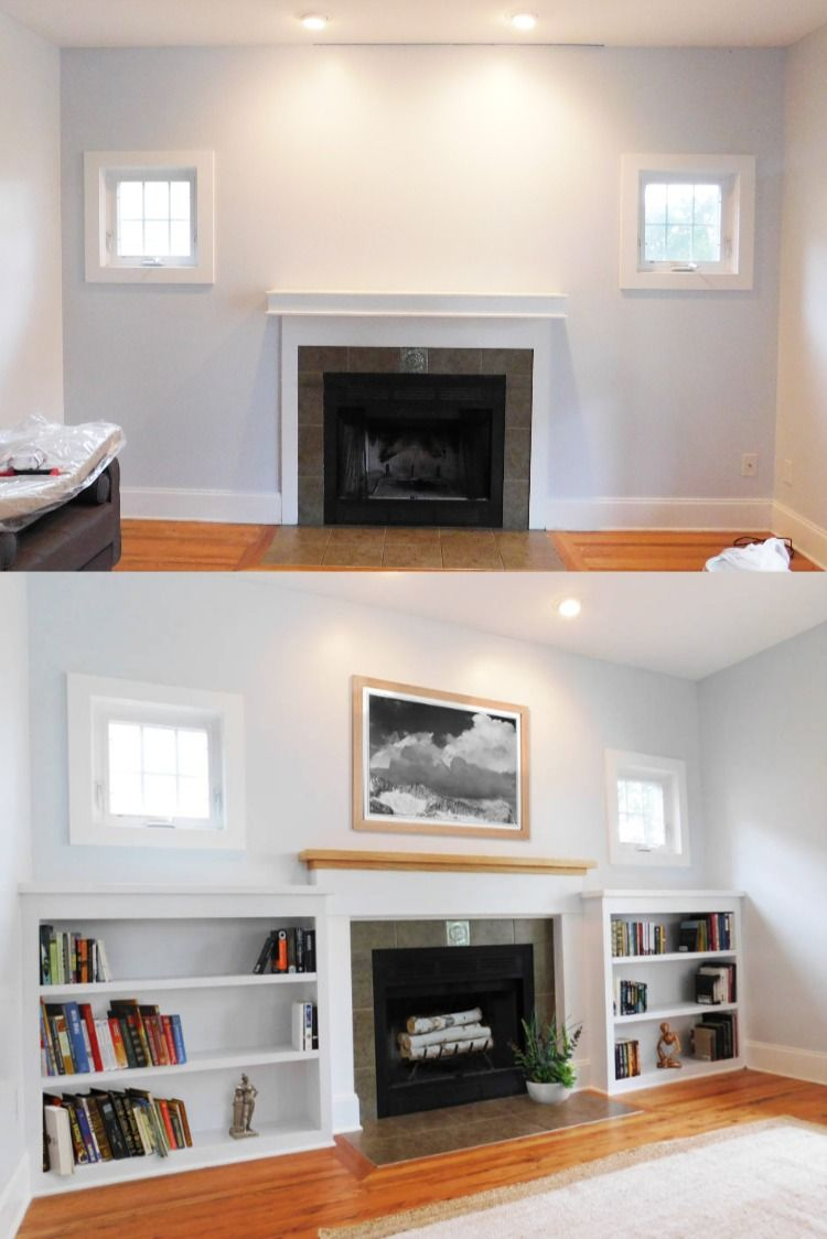Fireplace Before After Replacing A Mantel Adding Bookshelves