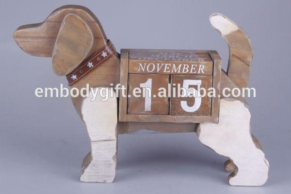 Dog Shape Wooden Perpetual Desk Calendar For Home Decoration Buy