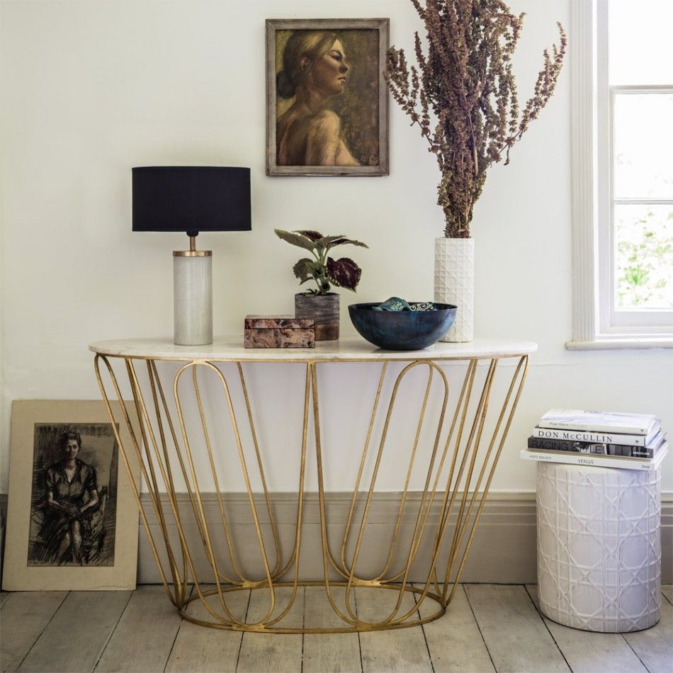 Amina oval console table graham green homedecor amina oval console table marble and gold shop by theme new for autumn geotapseo Image collections