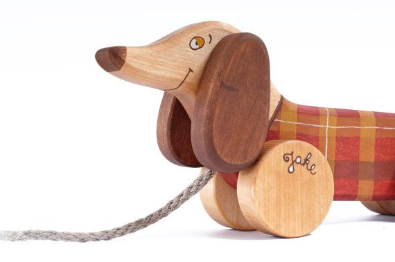 Wooden Toy Sausage Dog Eco Friendly Personalized Kids Pull Toy Via