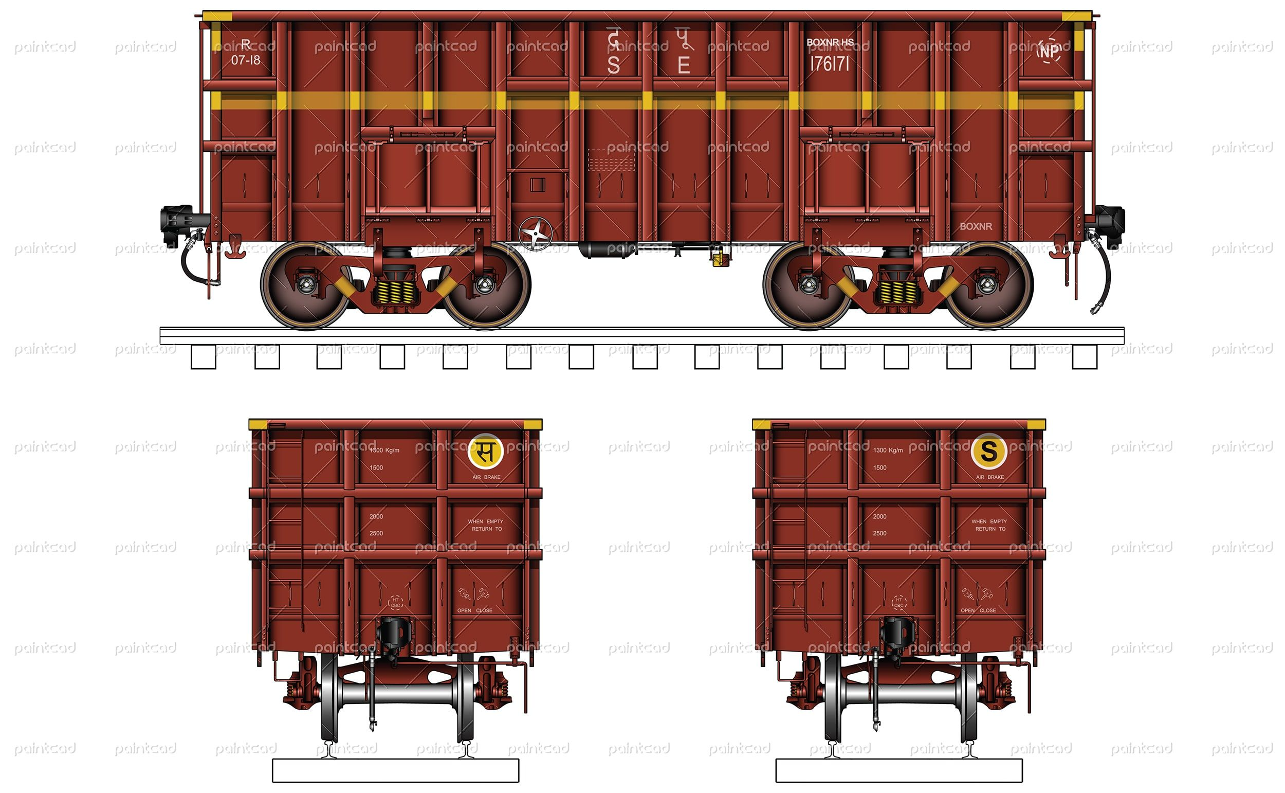 """Vector illustration of open wagon type """"BOXNRHS"""" used"""