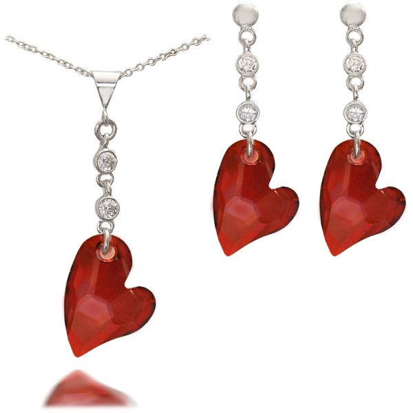 Red Magma Devoted 2 U Crystal Heart Pendant & Matching Earrings Set ($65) ❤ liked on Polyvore featuring jewelry, heart pendant, red crystal jewelry, heart shaped jewelry, crystal jewellery and crystal pendant jewelry