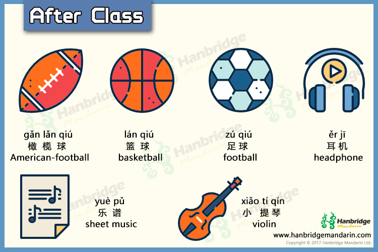 Chinese vocabulary about after class- 打篮球 (play basketball