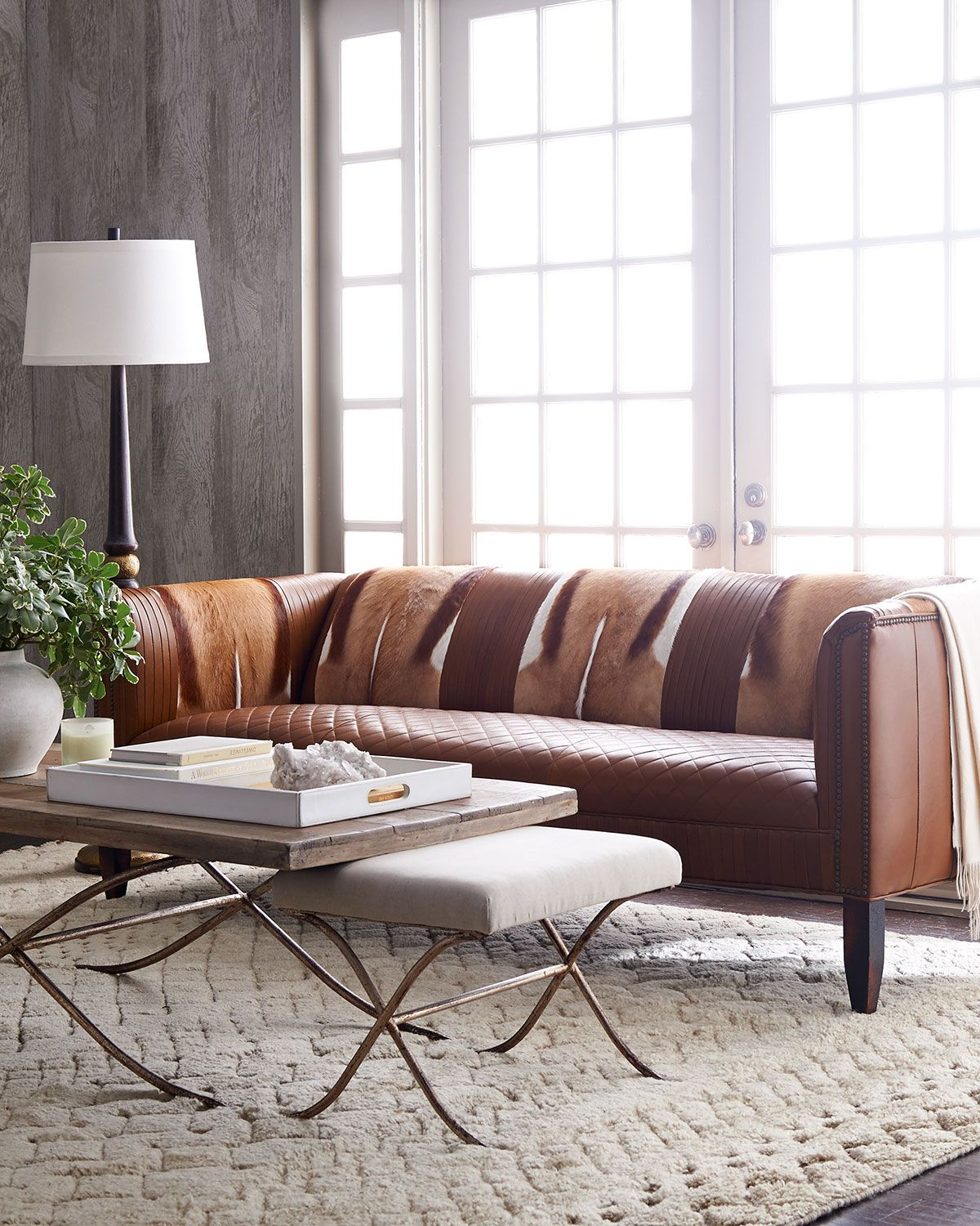 Old Hickory Tannery Pierce Hairhide Leather Sofa Leather