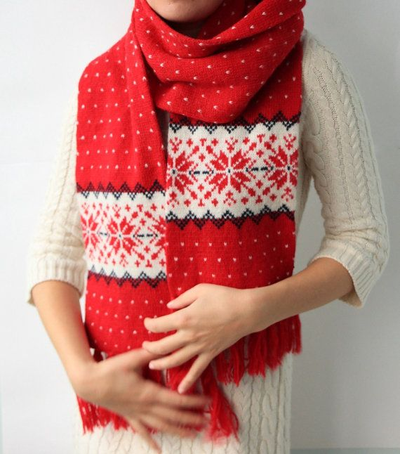 Knit Scarf With Christmas Snowflake Ornament Made Of By Cozyseason