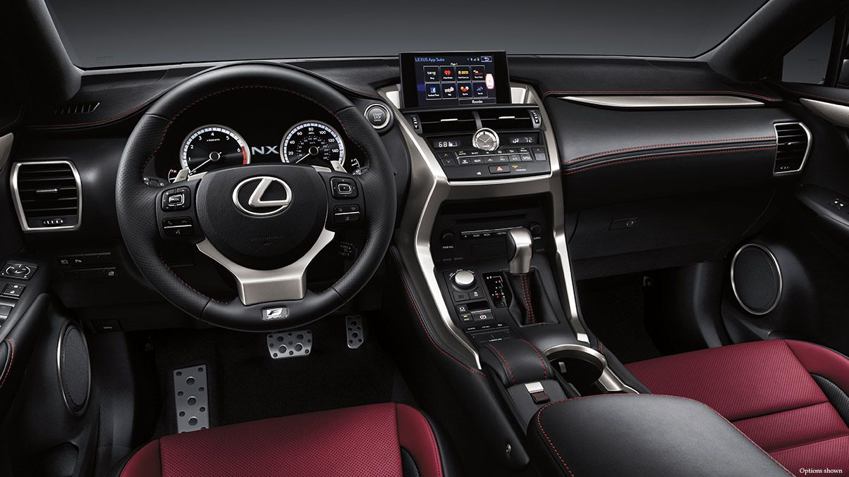 NX 200t F SPORT shown in Rioja Red NuLuxe trim. New