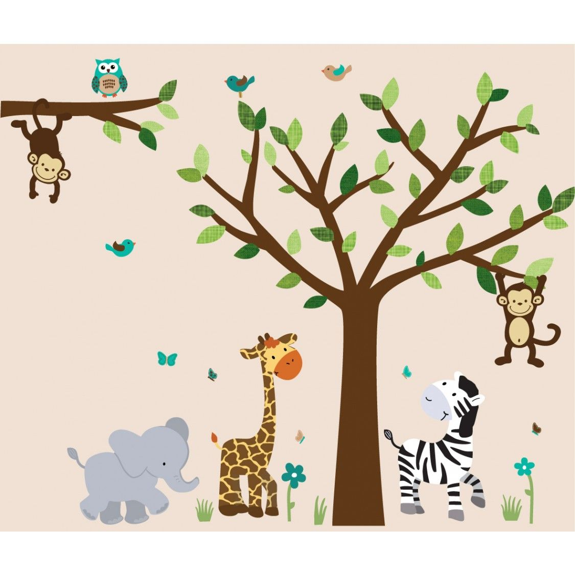 Jungle wall art with elephant wall decal for boys rooms boy find this pin and more on boy nursery safari pride jungle tree wall decals amipublicfo Image collections