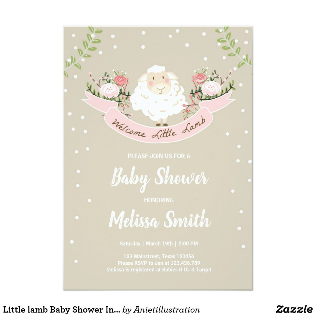 Little lamb Baby Shower Invitation Pink Spring | Babies