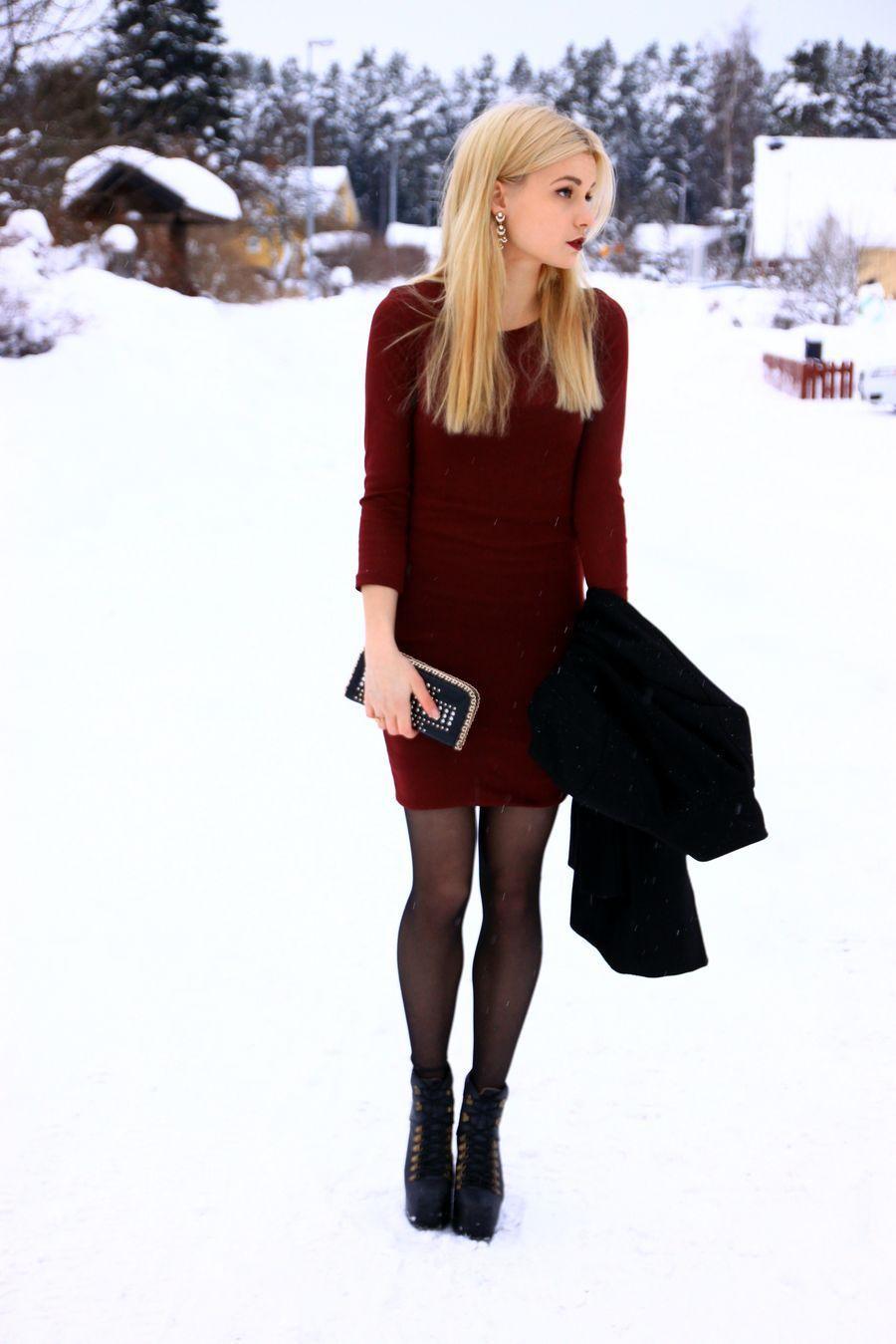 Burgundy Dress Merry Christmas By Linda Winter Dress Outfits Burgundy Dress Outfit Fashion [ 1349 x 900 Pixel ]