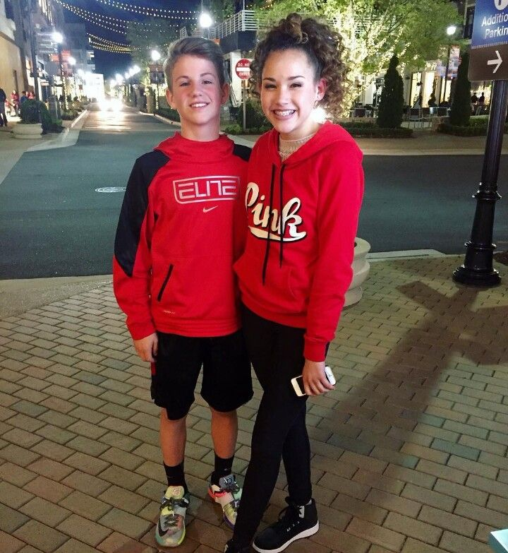 Mattyb and gracie after doing a challage the Hershey kiss