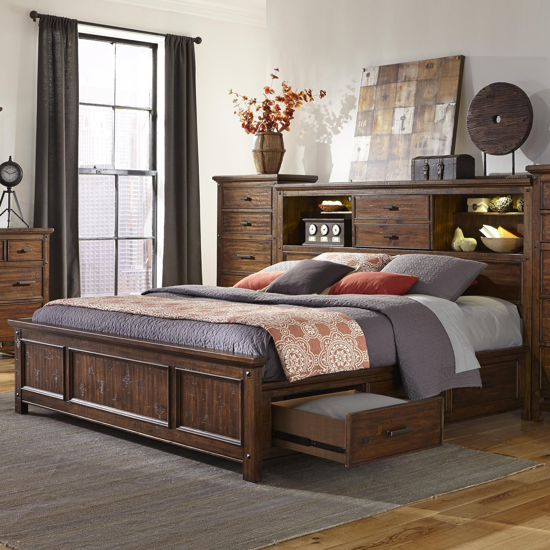 Wolf creek queen bookcase bed with storage by intercon - Bedroom furniture bookcase headboard ...