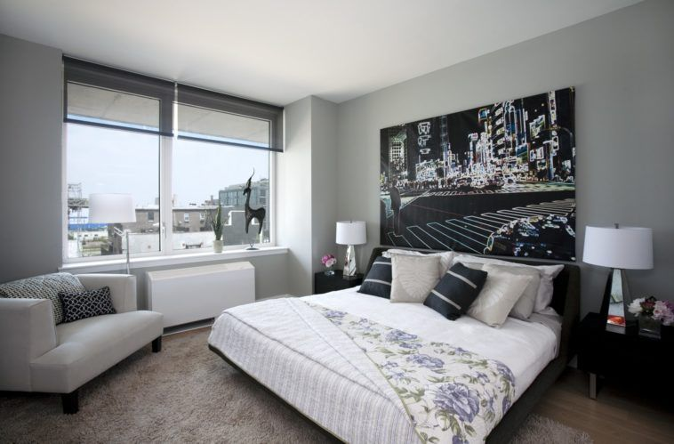 Bedroom. Grey Painted Bedroom With Glass Windows Decorated By Black ...