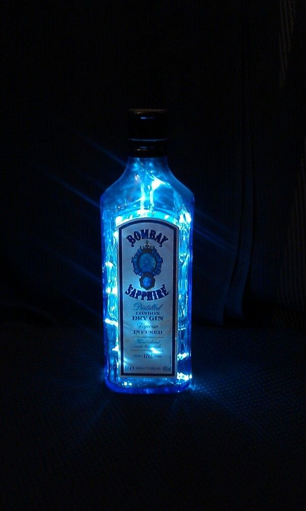 upcycled bombay sapphire london dry gin bottle lamp. Black Bedroom Furniture Sets. Home Design Ideas