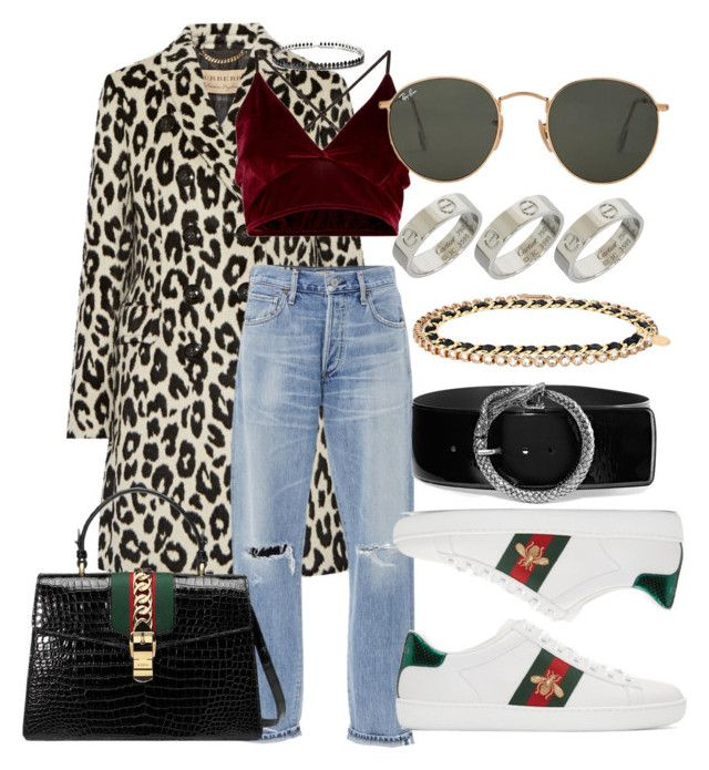 #Look:#479 by dollarwomanlux on Polyvore featuring moda, Burberry, Citizens of Humanity, Gucci, Cartier, Fallon, Yves Saint Laurent, Ray-Ban and Chanel