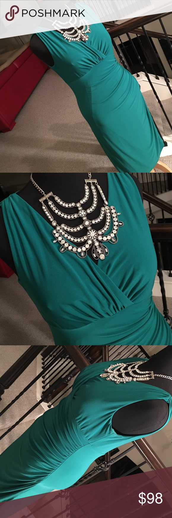 Majestic jade green dress by Ralph Lauren! This beautiful pullover V-neck dress, in jade green is sleeveless, it has a ruched left side a super flattering waistline. faux slit on the side, faux wrap look. Yes it is absolutely perfect for your holiday party! Ralph Lauren Dresses