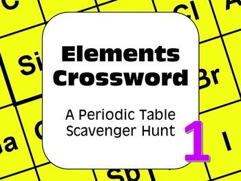 Periodic table of the elements scavenger hunt puzzle find the free a periodic table of the elements scavenger hunt crossword style just one of a series of student centered fun and engaging scavenger hunt activities urtaz Image collections