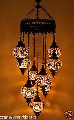 9 Ball Turkish Moroccan Hanging Glass Mosaic Chandelier Lamp