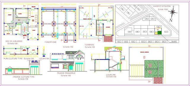 Plan Autocad d\u0027une petite villa dwg AutoCAD Pinterest Plan