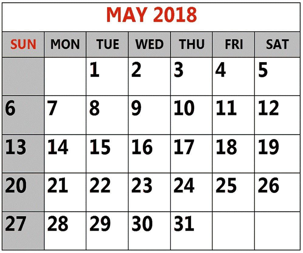 May 2018 Blank Calendar Templates | Calendar 2018 | Pinterest ...