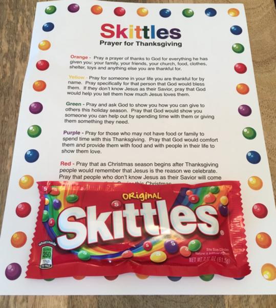 Skittles Thanksgiving Prayer