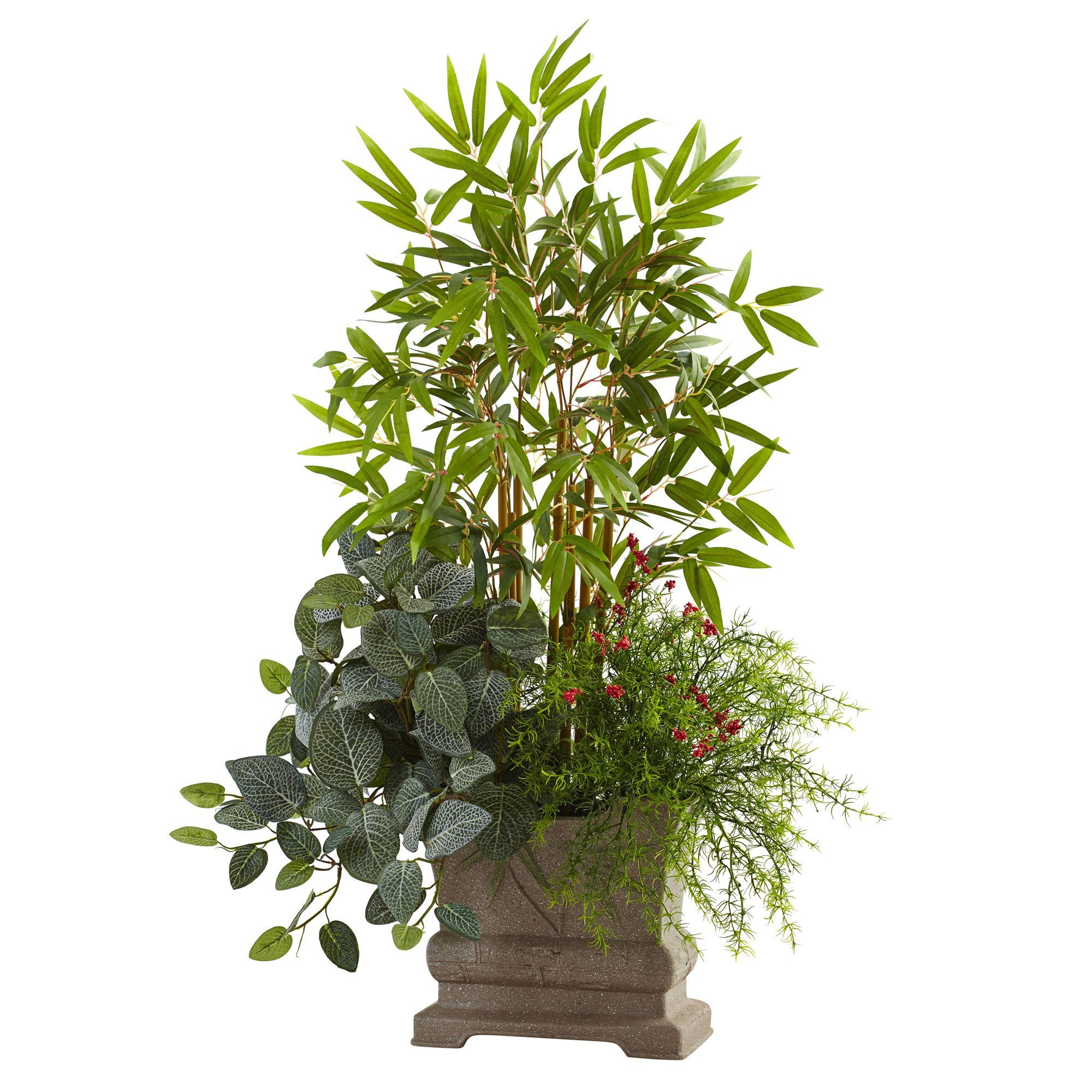 decorative this indoor and artificial planter bamboo a realistic makes tree pin green in faux tall striking slender