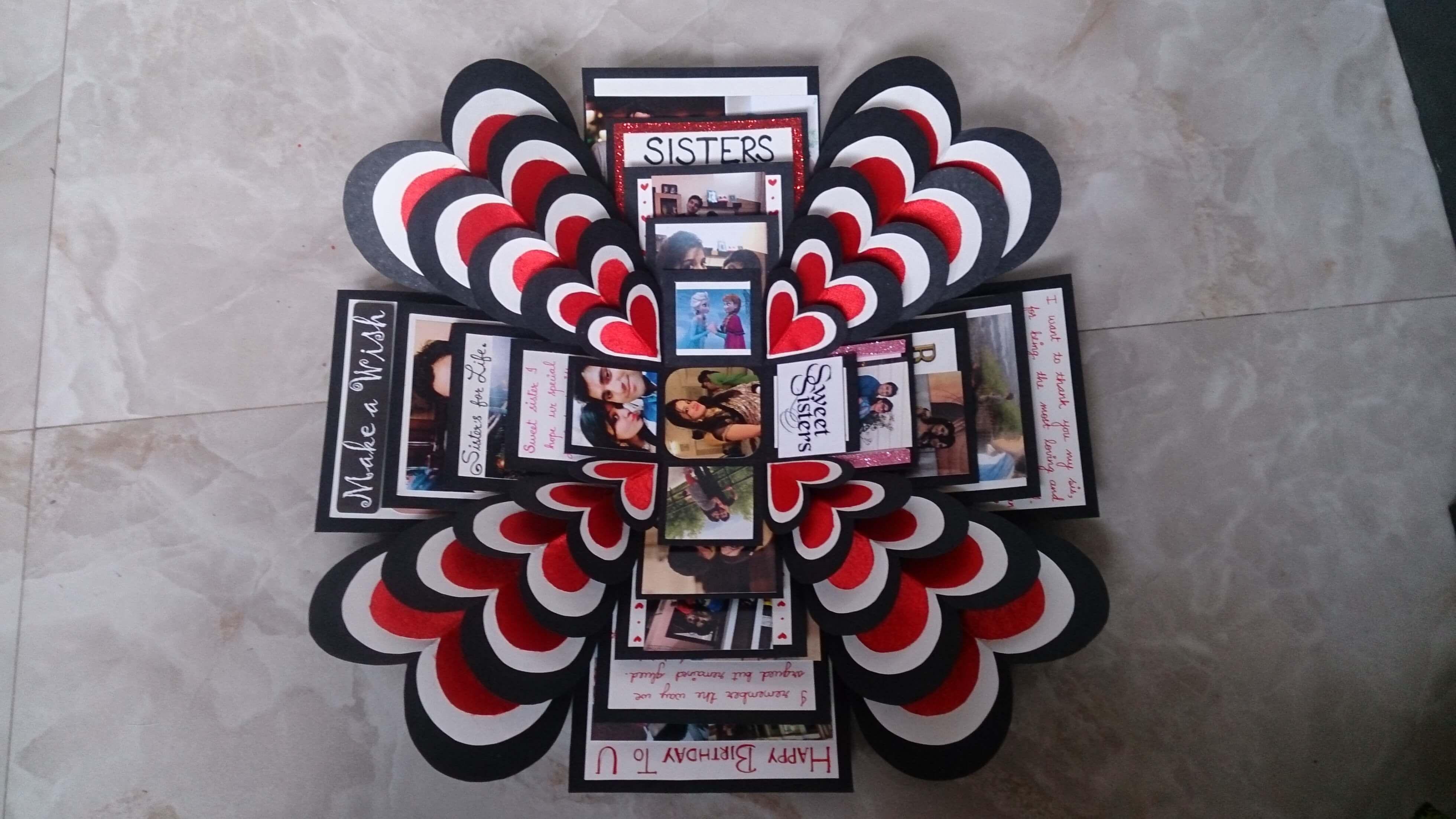 2 Explosion Box Handmade Birthday Card For Sister Card