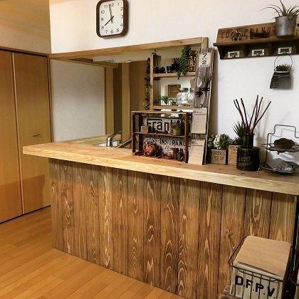 Diyでキッチン改造8カウンター下を板張りに 原状回復ok ほぼ完成 リビング キッチン サーフ インテリア キッチン Diy