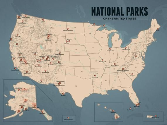 Us National Parks Map 18x24 Poster In 2020 Us National Parks Map National Parks Map Us National Parks
