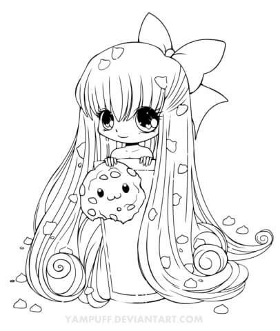 Chibi Cookie Girl Coloring Page Free Printable Coloring Pages Chibi Coloring Pages Cute Coloring Pages Animal Coloring Pages