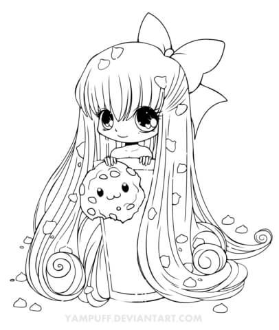 Chibi Cookie Girl Coloring Page With Images Chibi Coloring