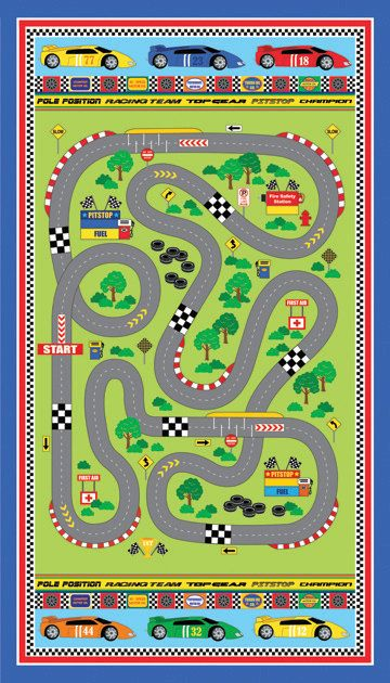 northcott speedway panel of fabric boy race car racetrack road play mat quilt maxwell rhoades. Black Bedroom Furniture Sets. Home Design Ideas