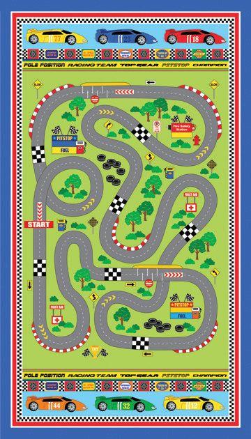 Northcott Speedway Panel Of Fabric Boy Race Car Racetrack