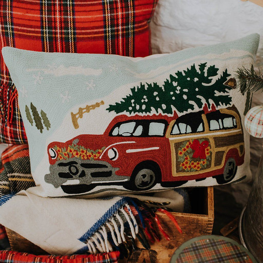 Christmas Car Pillow 48 at Freckled Hen Farmhouse