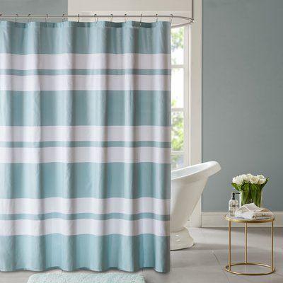 Zipcode Design Blair Printed Shower Curtain Color Seafoam Striped Shower Curtains Curtains Bathroom