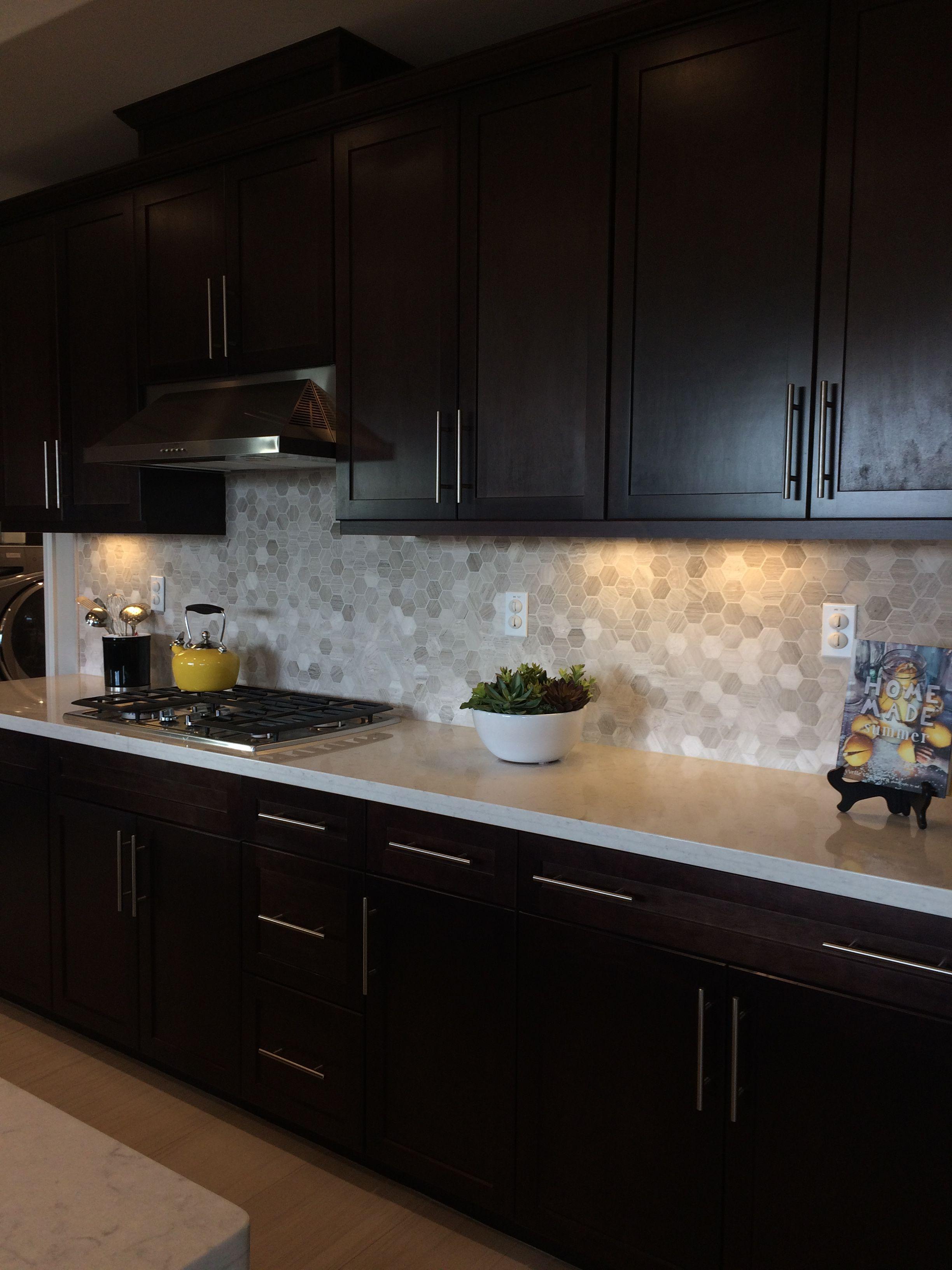 Dark Brown Kitchen Cabinets Light Quartz Countertop Dark Brown