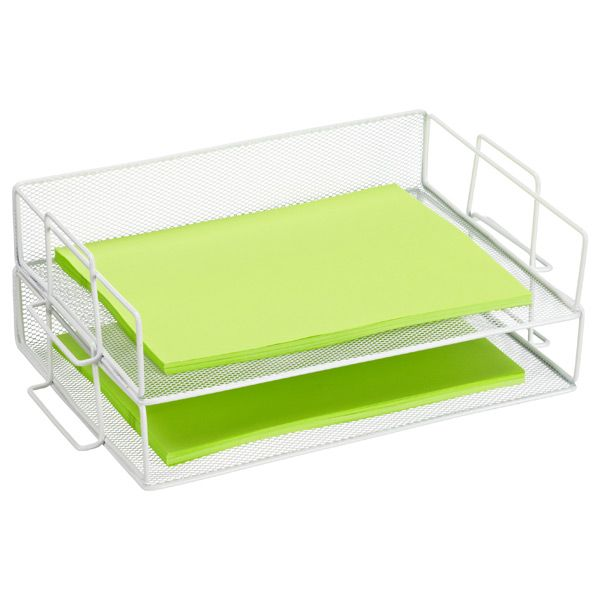 Design Ideas Mesh Letter Tray: Stackable White Mesh Letter Tray
