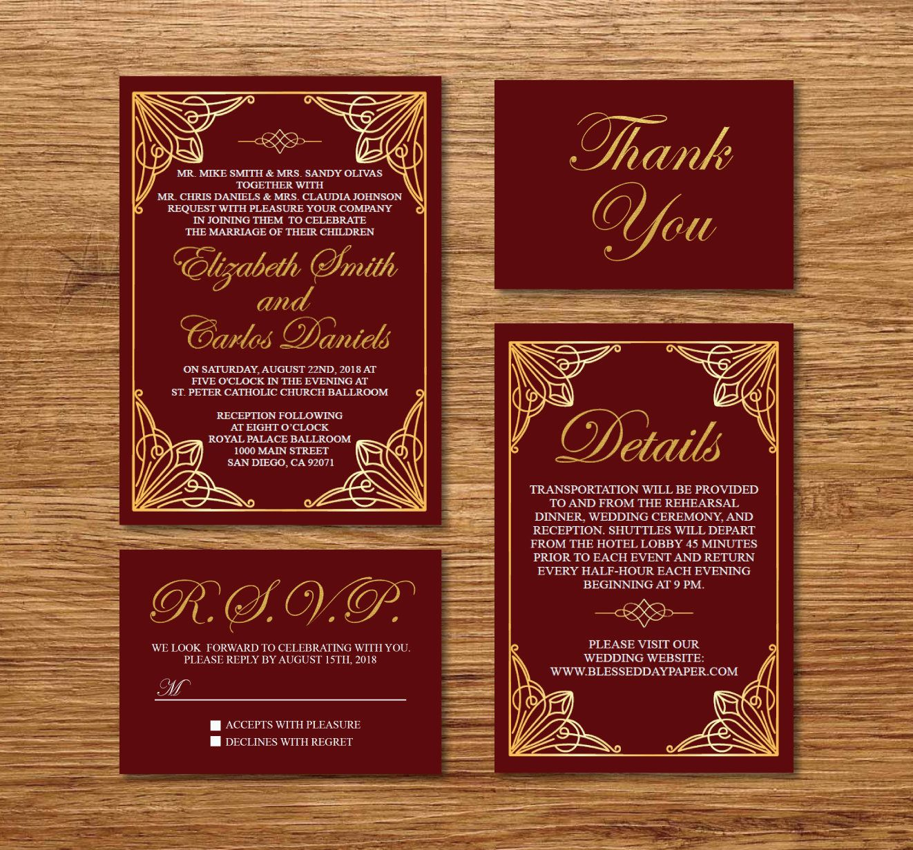 Gold & Burgundy Wedding Invitation Printable/E-Card Wedding ...