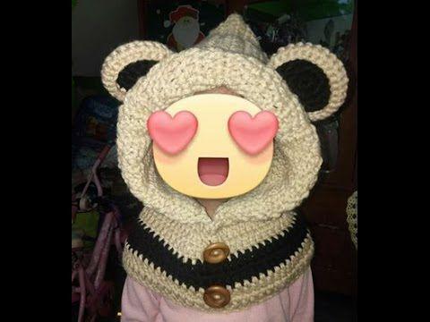 Como tejer a Crochet o Ganchillo gorro con capucha de osito y cuello -  YouTube 277e030f69e