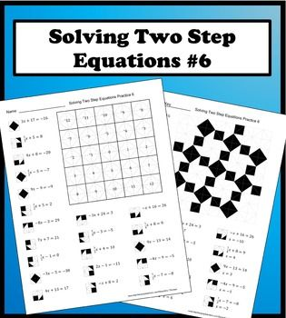 Solving Two Step Equations Color Worksheet Practice 6 In 2020 Two Step Equations Color Worksheets Equations