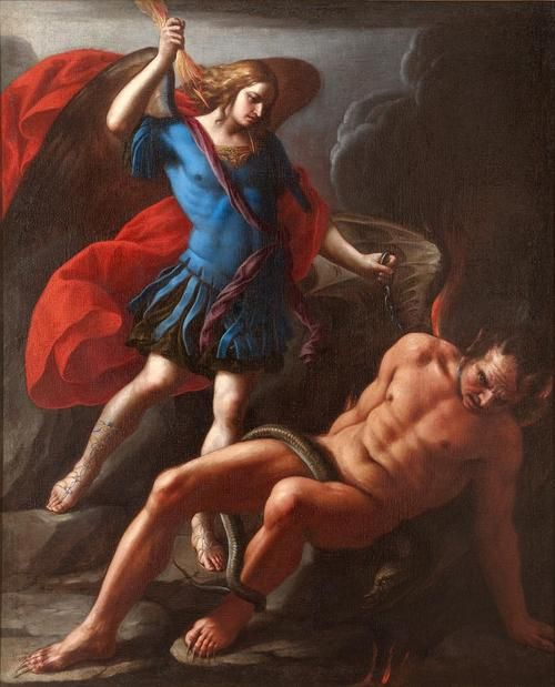 St Michael Slaying The Devil Painting