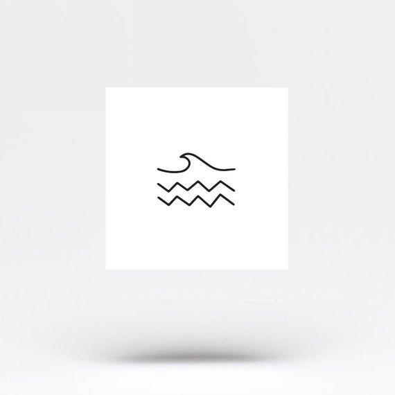 Minimalist Sea Temporary Tattoo Set of 3 | Etsy